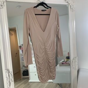 PrettyLittleThing Nude Ruched Dress